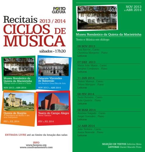 Ciclo de Música Silva Monteiro. Texto e Música em diálogo